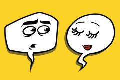 Shy modest comic bubble face man woman Stock Illustration