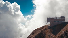 Aerial View of the Cableway at the Top of Mountain Stock Footage