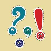 Set of funny smiley punctuation Stock Illustration