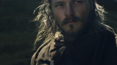 Portrait of Medieval Male Warrior. Medieval Reenactment. Stock Footage