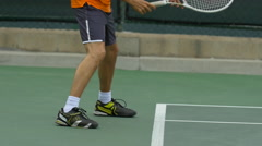 Tennis player practicing his return stance, slow motion. Stock Footage