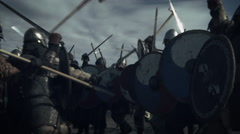 Large Battle Between Medieval Warriors. Medieval Reenactment.  Stock Footage