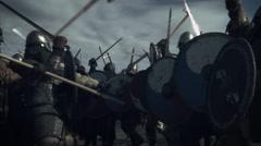 Large Battle Between Medieval Warriors. Medieval Reenactment.  Stock Footage
