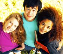 International group of students close up smiling Stock Photos