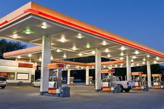 Retail Gasoline Station and Convenience Store Stock Photos