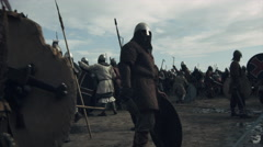 Walking in Crowd of Medieval Warriors during Rest Between Battles Stock Footage
