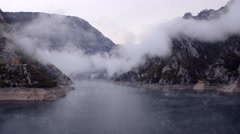 Foggy lake in the morning Stock Footage
