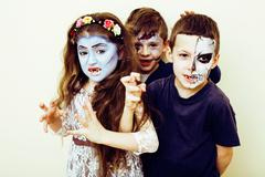 Zombie apocalypse kids concept. Birthday party celebration facep Kuvituskuvat