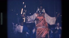 1967: traditional dancer performs in front of small group of musicians. PALERMO Stock Footage