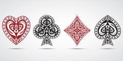Spades, hearts, diamonds, clubs poker cards symbols grey background Stock Illustration