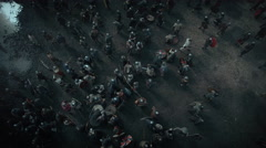 Flying over Crowd of Medieval Warriors. Medieval Reenactment.  Stock Footage