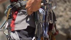 Details of rock climbing equipment. Stock Footage