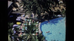 1972: a large swimming pool, viewed from above MAZATLAN MEXICO Stock Footage