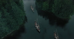 Flying over Sailing Viking Row Ships. Medieval Reenactment.  Stock Footage