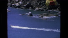 1972: boat moving very fast leaving trails behind of water waves MAZATLAN MEXICO Stock Footage