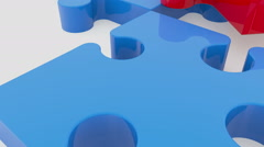 Moving puzzle pieces in red and blue colors on white Stock Footage