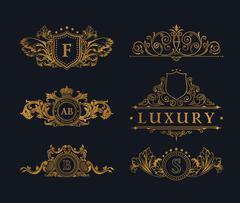Vintage Decorative gold Elements Flourishes Calligraphic Ornament Stock Illustration