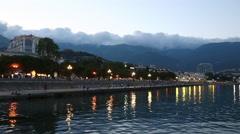 Yalta embankment al sunset, Krimea, Russia Stock Footage