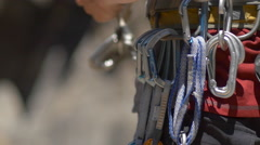 Details of rock climbing equipment, slow motion. Stock Footage
