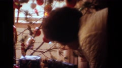 1981: an old lady wearing specs stand near to a decorated christmas tree LANSING Stock Footage