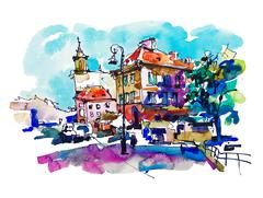 Watercolor sketching old town historical buildings Warsaw capita Stock Illustration