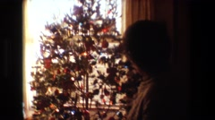 1981: christmas celebration festival tree lights people customs traditions  Stock Footage