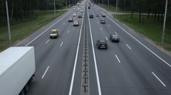 Traffic of car on busy highway infrastructure Stock Footage