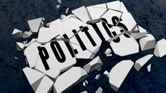 "Word block that says ""Politics"" falls and crumbles to the ground. Stock Footage"