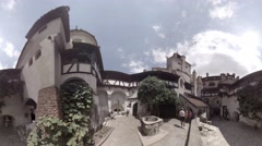 Courtyard of Bran Castle, Dracula's Castle near Bran in Romania Stock Footage