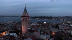 The New Istanbul Skyline and Galata Tower Aerial View 4K Stock Footage
