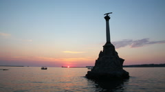 The Sevastopol Bay and the monument to the scuttled ships , Russia Stock Footage