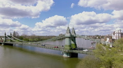 Aerial View Hammersmith Bridge and River Thames 4K Stock Footage