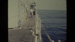 1981: ship resting upon deep ocean waters. SAN DIEGO NAVAL BASE Stock Footage