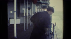 1981: men working on ship SAN DIEGO NAVAL BASE Stock Footage
