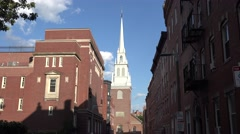 The spire of Old North Church in Boston, MA. Stock Footage