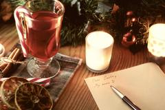 Christmas letter with spices Stock Photos