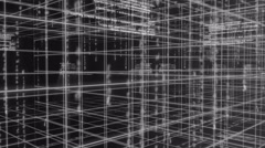 Digital technology and line backgorund rotating 90 4K colorless Stock Footage