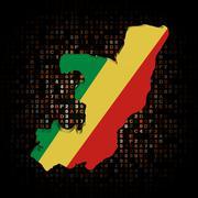 Republic Congo map flag on hex code illustration Stock Illustration