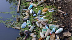 Plastic pollution rivers Stock Footage