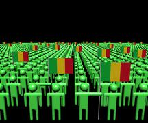 Crowd of abstract people with many Mali flags illustration Stock Illustration
