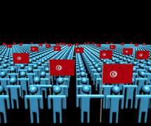 Crowd of abstract people with many Tunisian flags illustration Stock Illustration