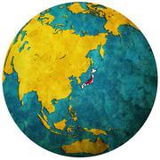 Japan flag on globe map Stock Illustration