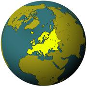 Europe territory on globe map Stock Illustration