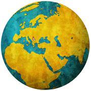 Serbia flag on globe map Stock Illustration