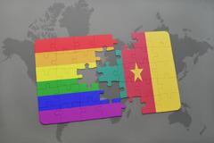 Puzzle with the national flag of cameroon and gay rainbow flag on a world map Stock Photos