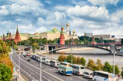 Aerial view over Moskva River and the Kremlin, Moscow, Russia Stock Photos