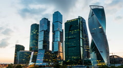 Scenic time lapse of the Moscow International Business Center, Russia Stock Footage
