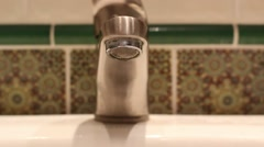 Water dripping from the broken faucet, tap Stock Footage