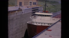 1964: slow moving freighter NIAGRA FALLS NEW YORK Stock Footage