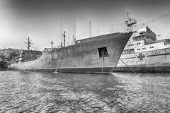 Black Sea Fleet warships in quay of Sevastopol bay, Crimea Stock Photos